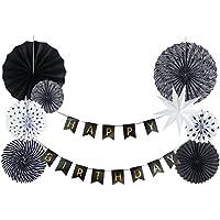 SUNBEAUTY 誕生日デコレーションセット 一歳 2歳 30歳 50歳 バースデーの飾り付け,9点  ブラック ホワイト
