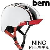 bern(バーン) ヘルメット NINO キッズモデル Gloss White Racing Stripe Visor ヘルメット bern 子供用(スケボー・自転車ヘルメット)