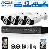 A-ZONE 130万画素タイプ 防犯カメラキット 8CHレコーダー(2000GB内蔵)&4台防犯カメラ(最大8台カメラを増設可能)フルハイビジョン 防水IP67 ナイトビジョン屋内/屋外CCTV防犯、監視カメラ、iPhone Android スマホ PC 遠隔監視 対応(2TB HDD 付き)