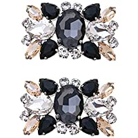 Casualfashion 2Pcs Fashion Womens Crystal Rhinestone Shoe Clips Decorations for Wedding Party Prom, rhinestone, Multicolor, approx 5.8 * 3.7cm / 2.28 * 1.45inch