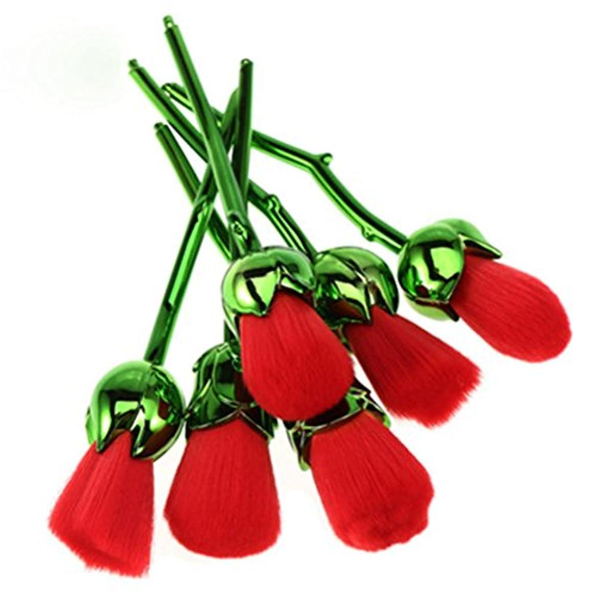 富比喩色ディラビューティー(Dilla Beauty) メイクブラシ 薔薇 メイクブラシセット 人気 ファンデーションブラシ 化粧筆 可愛い 化粧ブラシ セット パウダーブラシ フェイスブラシ ローズ メイクブラシ 6本セット ケース付き (グリーン - レッド)