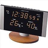 Amazon.co.jpアデッソ LED温湿度電波クロック 【おき型 置型 卓上 置時計 デジタル カレンダー アラーム 温度 湿度 温湿度 インテリア 電波時計 LED F7112-05】