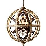 JiaYouJia Retro Rustic Weathered Wooden Globe Metal Orb Crystal 5-Light Chandelier