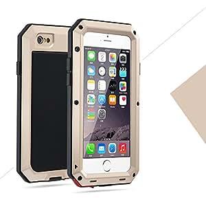 iPhone7 4.7インチ用ケース 2win2buy 液晶保護強化ガラスフィルム付き 生活防水/防塵/耐衝撃 アウトドア スポーツ ケース アイフォン7 対応耐衝撃カバー, ゴールド 金