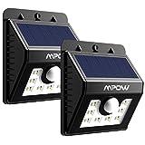 Mpow 8LED ソーラーライト センサーライト 玄関ライト 防犯ライト 屋外照明/軒先/壁掛け/庭先/玄関周りなどのライト 三つの点灯モード 夜間自動点灯(2点セット)