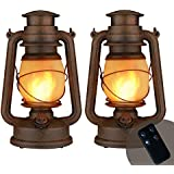 2 Pack Flame Light Vintage Lantern, Realistic Flicker Flame Camping Lamp Battery Operated LED Night Lights Landscape Decorative for Garden Patio Deck Yard Path (Copper)