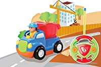 Cartoon R/c Construction Car Radio Control Toy For Toddlers Blue Battery Packs &