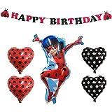 Miraculous Ladybug 誕生日 飾り付け 奇跡のてんとう虫 ディズニー キャラクター レッド ブラック 可愛い 女の子 子供 happy birthday ガーランド ハート 風船 バルーン 6枚セット