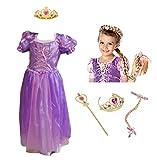 CREDIBLE 搭の上の ラプンツェル 風 子供用 コスチューム 豪華5点セット ( プリンセスドレス , お花付きウィッグ , ハートのティアラ , 魔法のスティック , CREDIBLE®オリジナルグッズ ) Mサイズ TO432