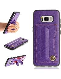 OMATENTI Galaxy S8 Plusケース カード収納 スタンド 機能 PUレザー 耐衝撃 保護ケース 柔軟性TPUカバー ギャラクシ S8 プラス 用 (7-パープル)
