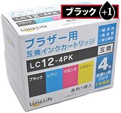 ブラザー用 互換インクカートリッジ Brother LC12-4PK ブラック1本おまけ付き 5本パック 高品質 安心の保証書付き Luna Life ルナライフ LNAO BR12/4P BK+1