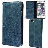 NeedNetwork iPhone6s iPhone6 4.7インチ アイフォン ケース カバー 手帳型 本革 レザー 財布型 カードポケット スタンド機能 マグネット式 (iPhone6/6s, ネイビー)