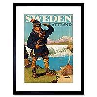 Travel Tourism Lappland Sweden Glacier Lavvu Sami Framed Wall Art Print 旅行観光スウェーデン壁