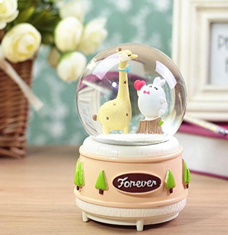 royarebarクリエイティブベビーおもちゃ音楽ボックス樹脂クラフトクリスタルボール音楽ボックスCartoon Deer音楽ボックスwithランプ( Large , Tree Stump )
