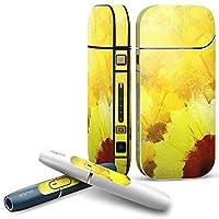 IQOS 2.4 plus 専用スキンシール COMPLETE アイコス 全面セット サイド ボタン デコ ひまわり 黄色 絵画 012204