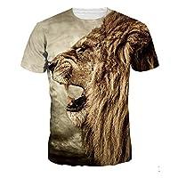 メンズTシャツ3Dプリント半袖夏メンズトップスメンズトップスティーライオングラフィックサマーシャツシンプルで寛大なユニセックス,Khaki,3XL