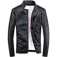 SemiAugust(セミオーガスト)革ジャン メンズ ライダースジャケット 春 ファッション レザー ブルゾン ストリート カジュアル バイクウエア (ブラック 2XL)