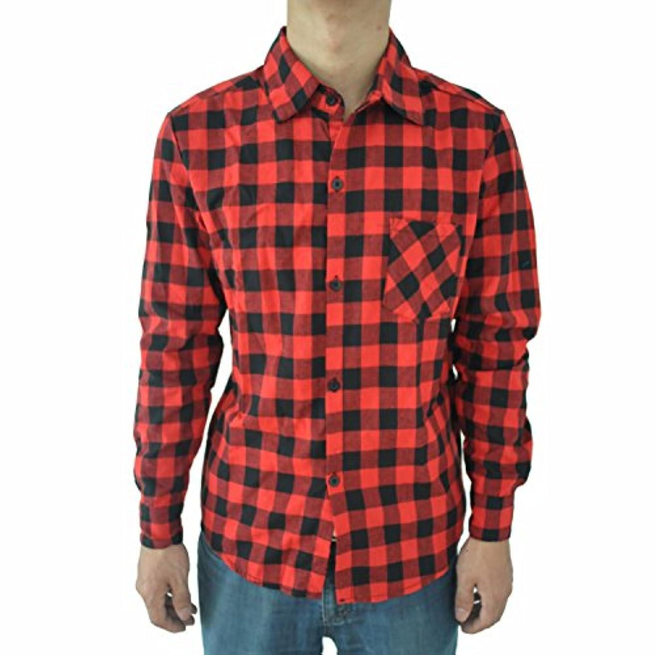 慎重ロードされたベルトSODIAL 男性のビンテージなチェック柄の長袖シャツ スリムフィット 男性の高品質シャツ L 赤のチェック柄