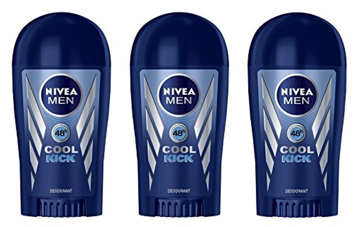 いじめっ子かる翻訳する(Pack of 3) Nivea Cool Kick Deodorant Solid Stick for Men 3x40ml - (3パック) ニベアクールキックデオドラントスティック男性用3x40ml