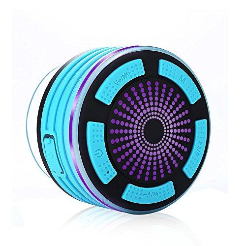 PALADYお風呂防水Bluetoothスピーカー 吸盤式ポータブルスピーカー 高音質 LED携帯式ワイヤレススピーカー マイク搭載通話可能/FMラジオ付き iphone/Androidなどのスマホを全対応 日本語の电子ファイル説明書付き