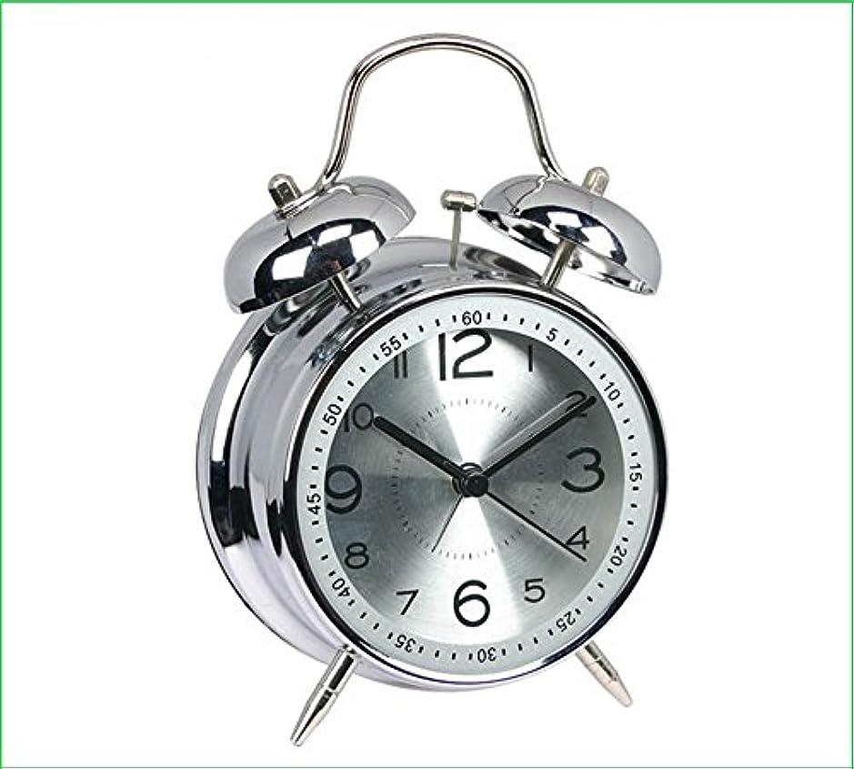 喪運動男らしい4インチの金属ミュートダブルベルの学生クリエイティブの目覚まし時計 (Color : シルバー)