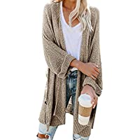 Sherrylily Womens Open Front Long Sleeve Loose Fit Kimono Cardigans Casual Solid Color Baggy Knit Sweater Shawl Capes