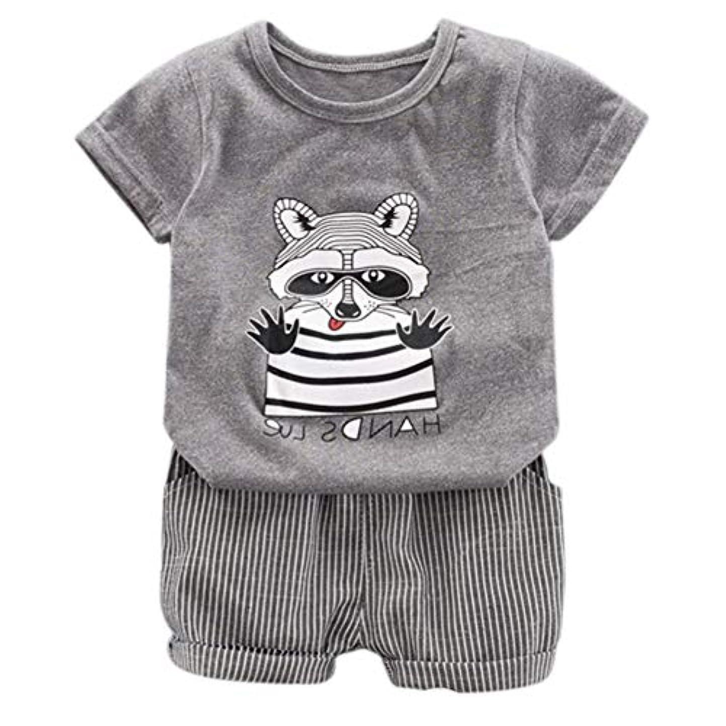 スリム十分な防止Rad子供 夏の赤ちゃん男の子カジュアル半袖漫画アニマルプリントTシャツトップス+ショーツコスチュームセット