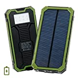 Levin 15,000mAh モバイルソーラーパネル ソーラーバッテリー 2ポート搭載 LEDライト付きスマホ充電器 ソーラーモバイルバッテリー グリーン