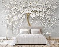 Bzbhart 3D美しい白い花 エンボス壁紙壁画、リビングルームのテレビのソファの壁の結婚式の壁画の壁紙-200cmx140cm