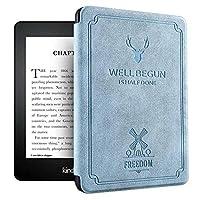 Echana 対応 Kindle Paperwhite4 ケース 高級 プレミアムレザーカバー 保護カバー 電子書籍カバー 薄型 軽量 耐衝撃 防水 磁石で固定 第10世代 (ブルー)