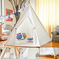 KaningコットンポータブルキャンバスTeepee Tent Kids Children Fun Play Tent with Carryingバッグ、クラスホワイトOneウィンドウスタイル
