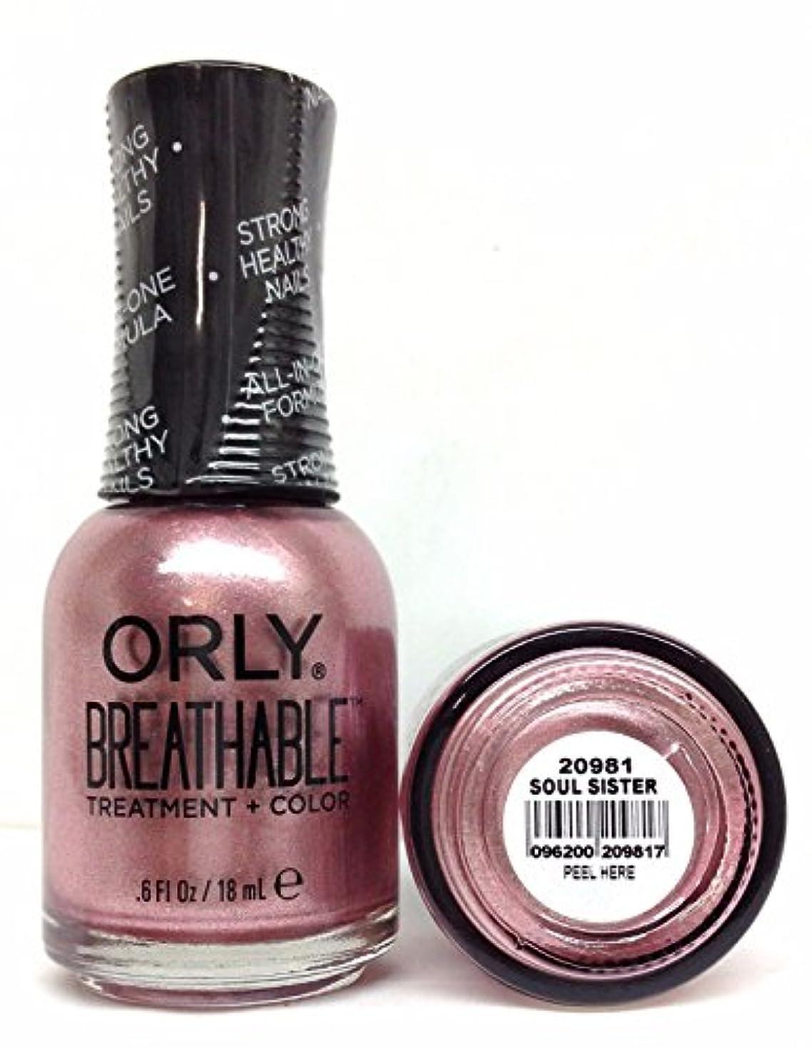ライナー早くシーボードOrly Breathable Nail Lacquer - Treatment + Color - Soul Sister - 0.6 oz / 18 mL