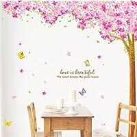 Weaeo 蝶の愛の花ロマンチックな桜の壁のステッカーテレビの壁の装飾の花のステッカーの寝室のリビングルームのステッカーは、環境にやさしい