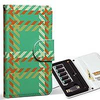 スマコレ ploom TECH プルームテック 専用 レザーケース 手帳型 タバコ ケース カバー 合皮 ケース カバー 収納 プルームケース デザイン 革 チェック・ボーダー オレンジ 緑 004000