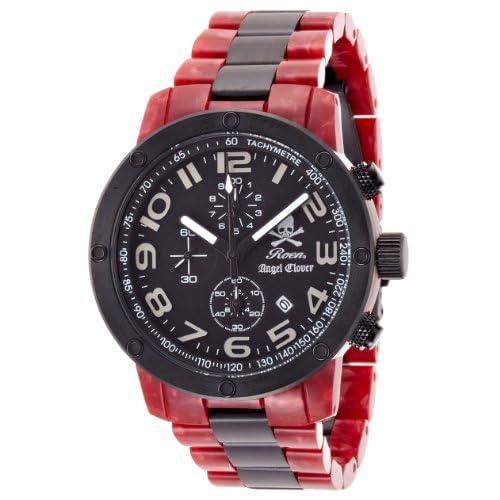 [エンジェルクローバー]Angel Clover 腕時計 ROENコラボレーション レッドマーブル文字盤 ステンレス(BKPVD)/アセテートケース ステンレス(BKPVD)/アセテートベルト デイト 10気圧防水 クロノグラフ ES43RORE メンズ