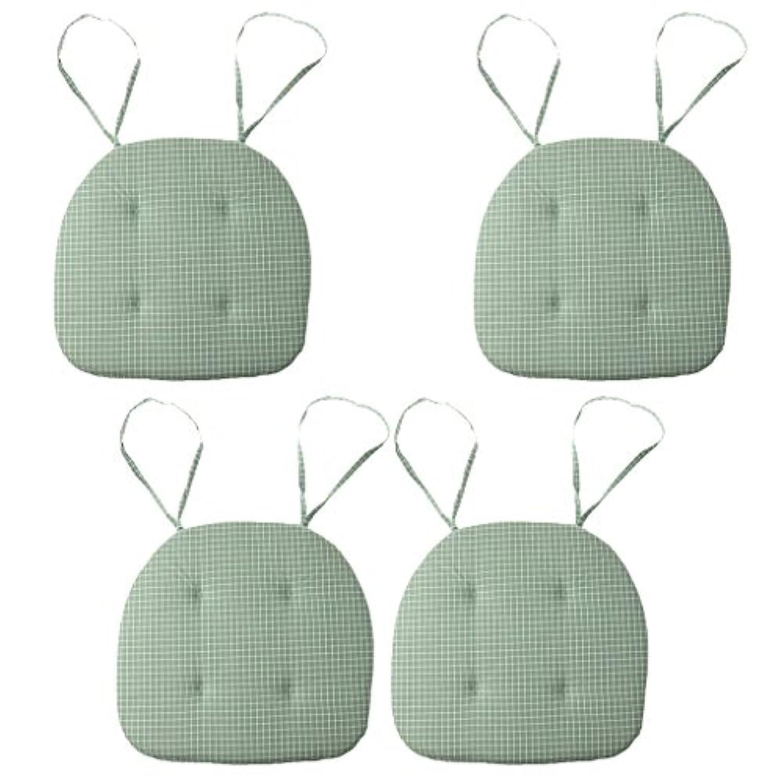 SONONIA 緑 チェック ダイニング チェア クッションシート マット 椅子 パッド 家 装飾品 4個
