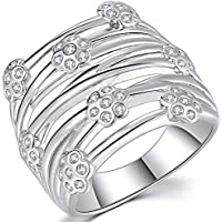 Jude Jewelers Rhodium-Plated-Brass Cubic-Zirconia