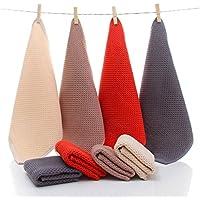 コットンスクエアスカーフ子供小さなタオルソフト吸水32 * 32センチメートルタオル* 4赤灰色の茶色