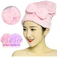 Tomosa 吸水 タオルキャップ 速乾 髪 タオル 子供ドライキャップ (2枚セット) 軽量 ヘアターバン 強い吸水性 お風呂上がり バス用品 (ピンク)