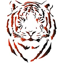 Tiger Head Stencil - 34 x 42cm (L) - Reusable African Big Cat Animal Wildlife Stencils for Painting - Use on Paper Projects Scrapbook Journal Walls Floors Fabric Furniture Glass Wood etc.