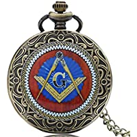 Men's Pocket Watch, Masonic Freemason Freemasonry Pocket Watch, Chain Quartz Watches Best Gift for Men
