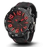 [ACI-NDG] 選べる 7 色 メンズ レディース 3D 立体 ビッグフェイス 腕時計 アナログ 表示 シンプル デザイン ラバー バンド スポーツ アウトドア カジュアル LEGO タイプ ウォッチ 男性 女性 腕 時計 【 BOX 時計 拭き付 】 (ブラック&レッド)