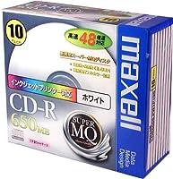 maxell データ用 CD-R 650MB 48倍速対応 インクジェットプリンタ対応ホワイト 10枚 5mmケース入 CDR650S.PW1P10S
