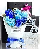ソープフラワー 花束 プレゼント ギフト 誕生日 母の日 メッセージカード (ブルー) POJIRAI G-100