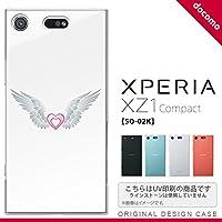 SO02K スマホケース Xperia XZ1 Compact SO-02K カバー エクスペリア XZ1 翼(ハート) 白×白 nk-so02k-475
