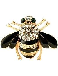 Gudeke 昆虫モチーフ Mini ミツバチ 蜂 ブラック ラインストーン キラキラ アクセサリー レディース メンズ ブローチ ネクタイピン ラペルピン