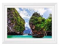 タイ海山風景 風景の写真 木製額縁 アートポスタ(40cmx60cm白色)