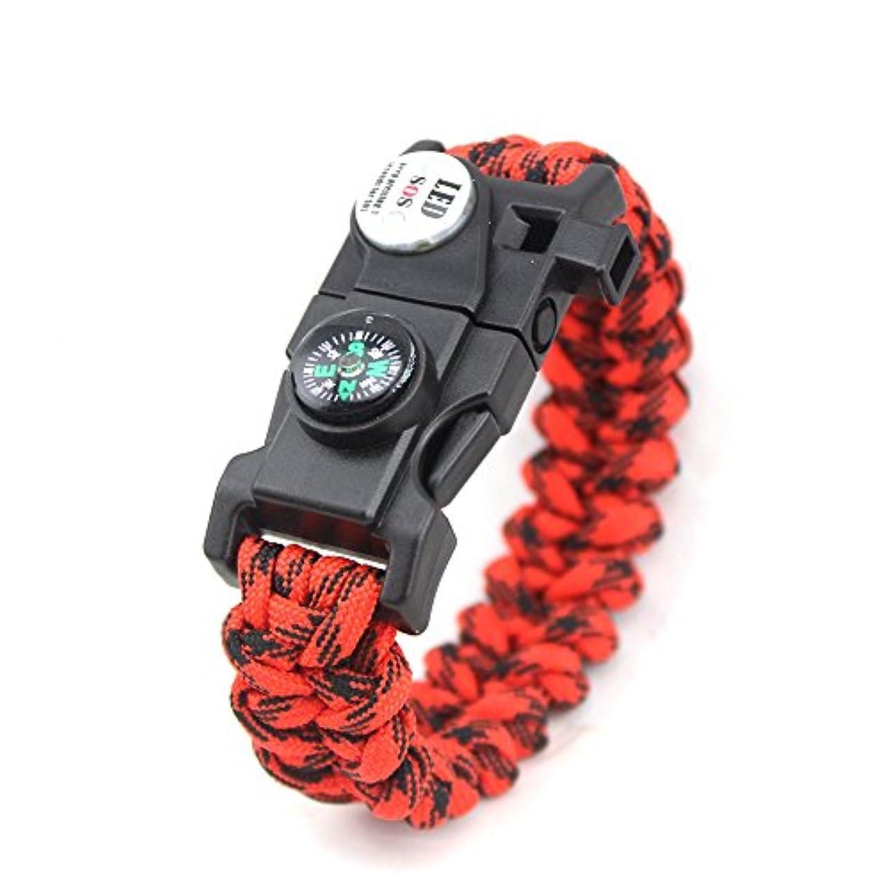 ストライド同一の再発するYAZILIND ユニセックスサバイバルブレスレット LED コンパス火災石笛