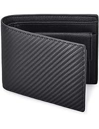 NUBILY 財布 メンズ 二つ折り 革 カーボンレザー 小銭入れ 防水 カード収納 お札入れ 大容量 ビジネス ブラック ネイビー 全2色