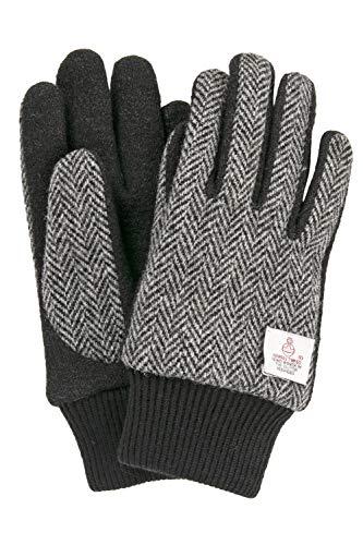 ハリスツイード 手袋 スマホ タッチパネル対応 ジャージ グローブ グレーヘリンボーン Mサイズ